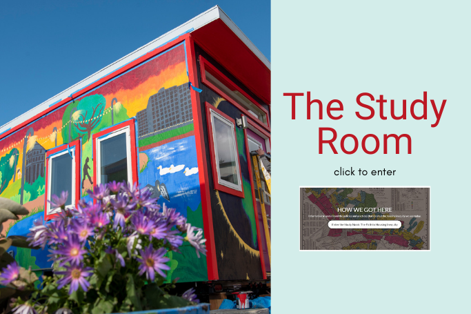 Image of a rainbow painted tiny h ouse & the study room