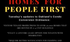 black square with red, yellow, and white text reads: Homes for people first Tuesday's update to Oakland's Condo Conversion Ordinance