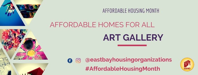 image of affordable housing week art gallery invitation with triangles showing pictures of colorful paint kits and drawings