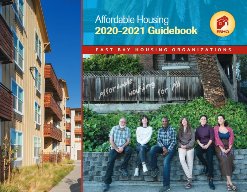 The cover of the 2020-2021 Affordable Housing Guidebook. Image shows Image shows a yellow and brown multi-family apartment building on the side with a blue sky above and in the center, a multi-racial group of six people between 25 and 60, sitting on a gray brick wall with ivy growing behind them, the base of a palm tree, and a worn brown fence above their heads.
