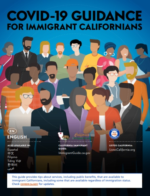 imgae of many people standing together. This is the front cover of the COVID-19 for Immigrant Californians guide.