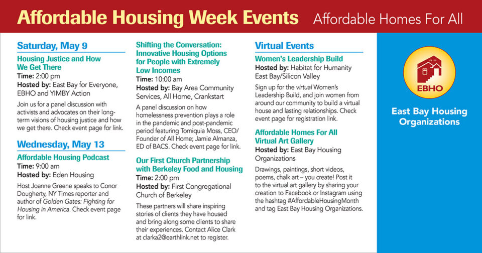 Image is all text describing Affordable Housing Week events (listed in the webpage below the image) and the EBHO Logo, yellow ricle with a multi-family house and the letters EBHO.