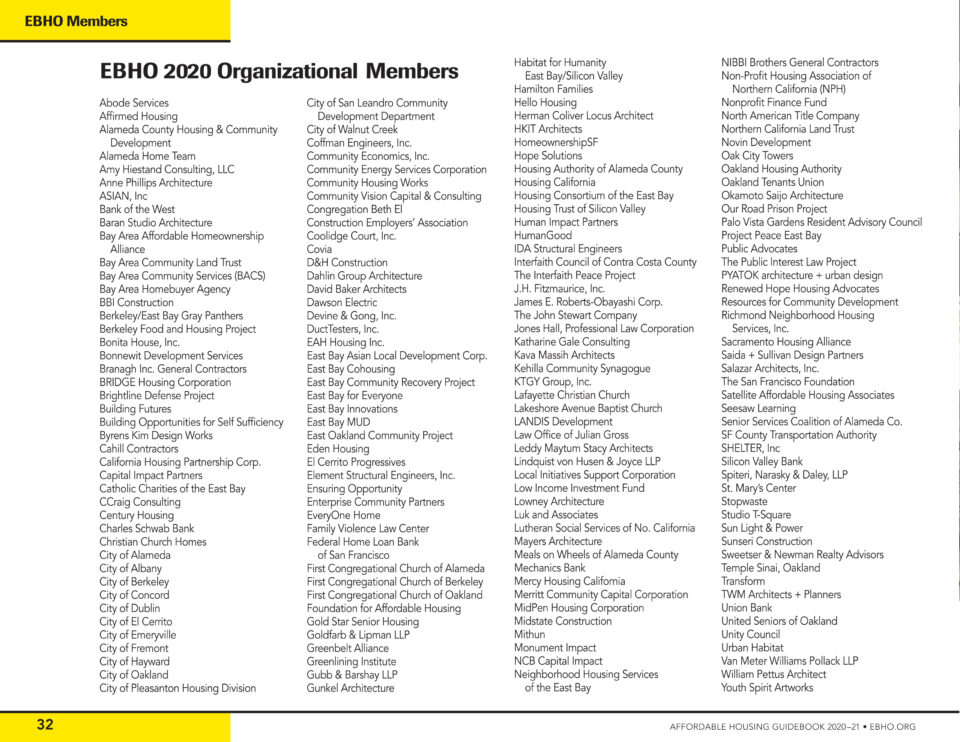 this image is black text on a white page, listing EBHO's member organizations.