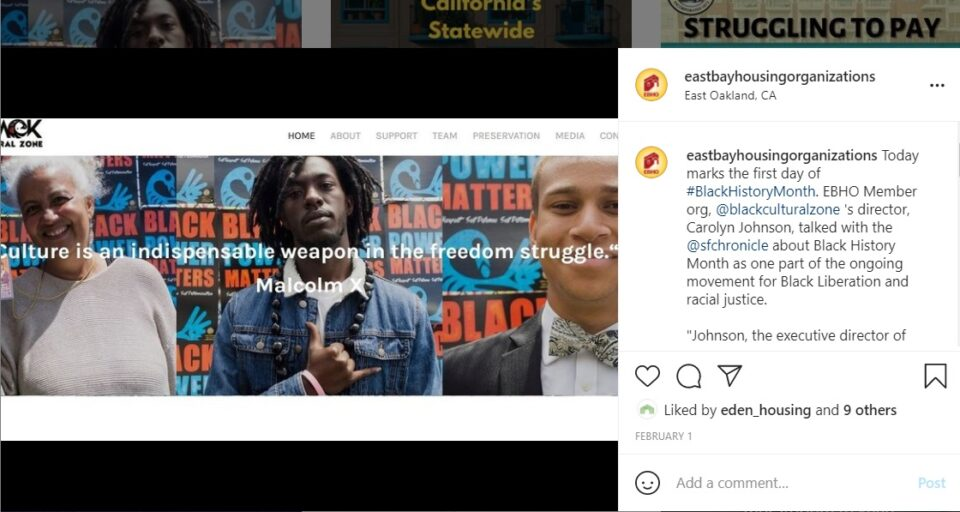 Image of Black Cultural Zone landing page and instagram caption