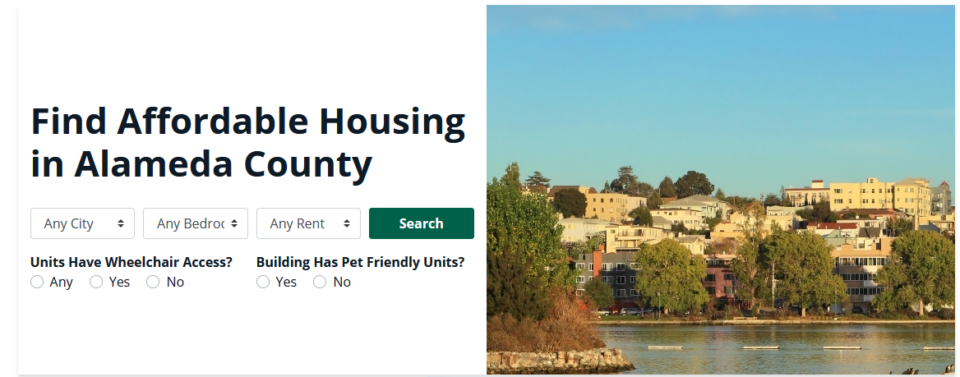 Image of the Oakland Hills and the words Find Affordable Housing in Alameda County