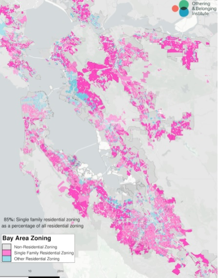 pink blogs over a map of the bay area show single-family zooning
