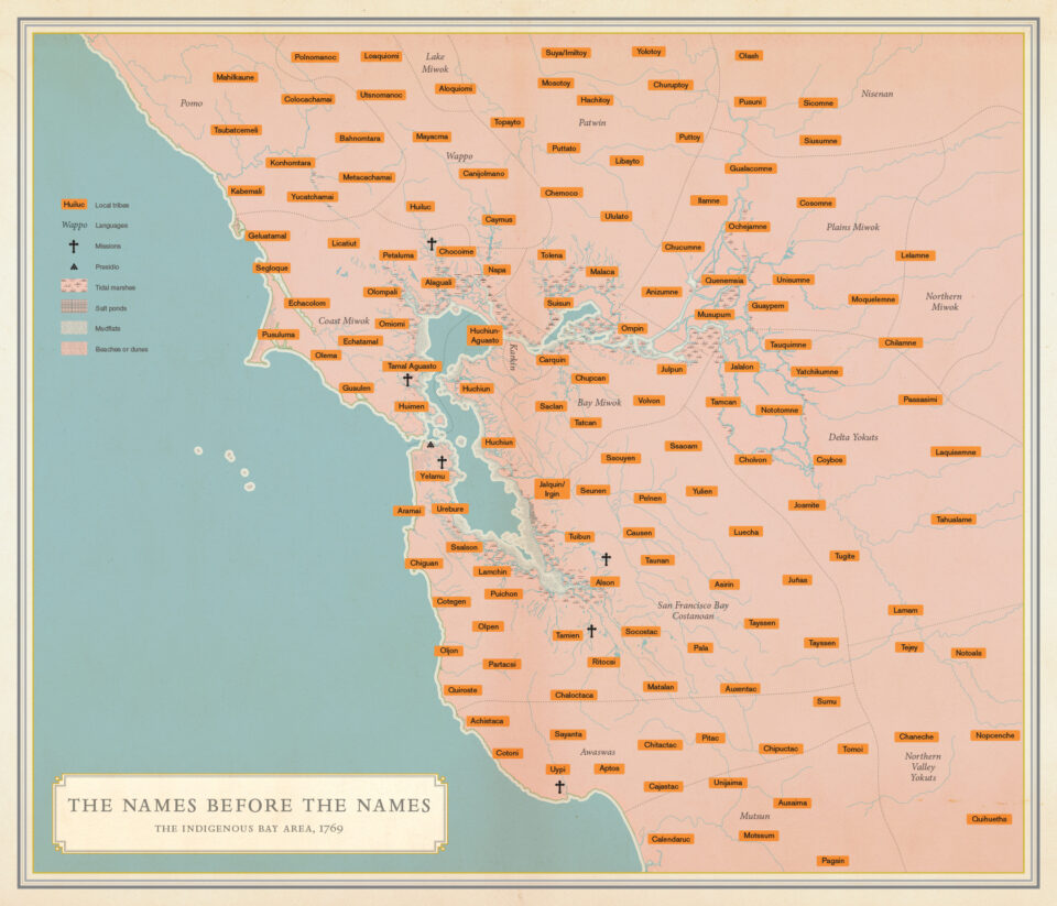 Image of the Bay Area with names of indigenous communities that lived here upon Spanish colonization.