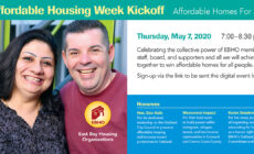 image of a husband and wife, standing closely, smiling and looking at the camera with Affordable Housing Week event information