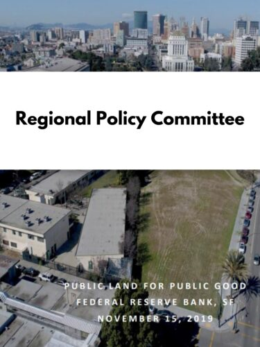 sky view of an open plot of land in Oakland with white banner reading regional policy committee