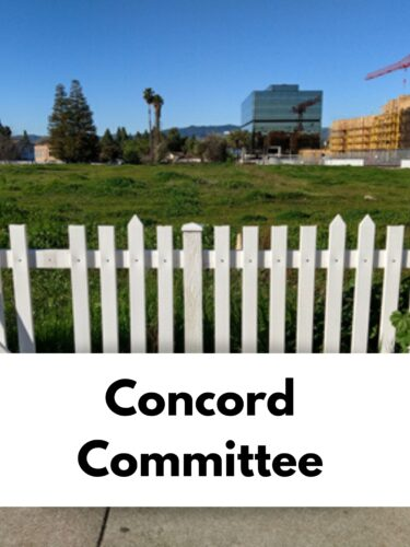 image of a green field with white picket fence text reads concord committee