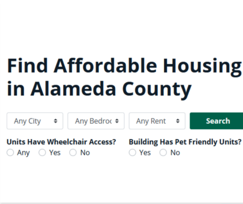White text with Find Affordable Housing in Alameda County words and web interface.
