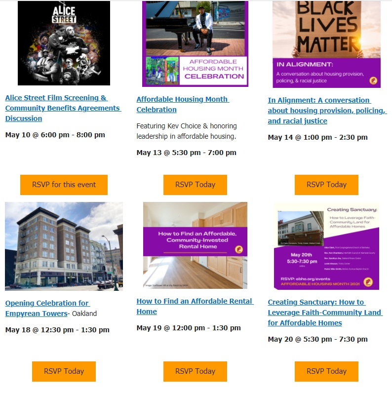 image of six events with buttons